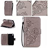 BoxTii iPhone 4 iPhone 4s Hülle [mit Frei Panzerglas Displayschutzfolie], Bling Glitter Schutzhülle, Ledertasche Handyhülle mit Kartenfächern für Apple iPhone4 / iPhone4s (#1 Grau)