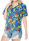 LA LEELA Kurze Ärmel Kragen Palme Druck Bademoden Partei Aloha Hawaii-Hemd Strand Bluse zuknöpfen Frauen Blau_X191 XL - DE Größe :- 48-50