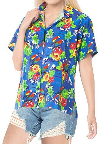 LA LEELA Blusen Strand Plus Größe Damen Plus Knopf unten lose Frauen Hawaiihemd Urlaub Kurze Ärmel blau XL