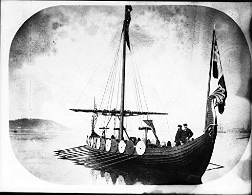 POSTER Replica viking vessel VIKING This image appears be photograph postcard that depicts stern and port view reproduction Viking longship. Australia Maritime Australian National