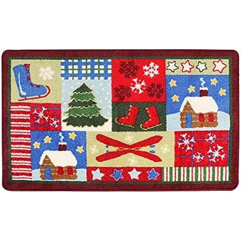 Textures Norcho Jacquard-Zerbino per ingresso, in stile natalizio, 60 cm x 39 cm - Rettangolare Pendente A Forma