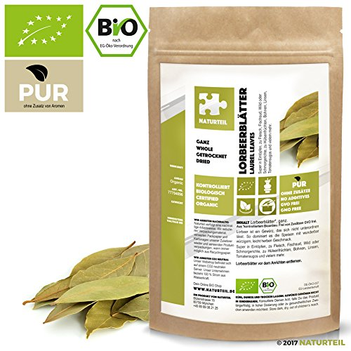 NATURTEIL – BIO Lorbeerblätter Ganz - 100g - Gewürz, Vegan, frei von Zusätzen | Organic Laurel leaves whole (Sportliche Auszeichnungen)