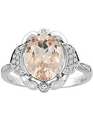 Revoni 14ct oro colgantes Natural anillo diamantes 10 x 8 mm Oval
