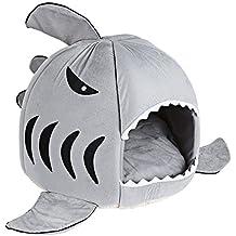 GBlife Nueva Cama Suave de Perros en Forma de Tiburón Casa de Mascotas con Cojín Extraíble(M, Gris)