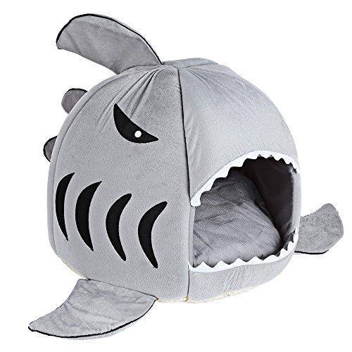 GBlife Nueva Cama Suave de Perros en Forma de Tiburón Casa de Mascotas con Cojín Extraíble(S, Gris)