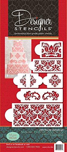K406Martha Stewart 's Damast Kuchen Küchenregal Kuchen, Schablonen-Set, beige/halbtransparent ()