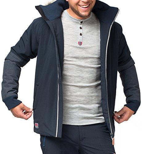 Twentyfour Herren Ski Funktions Jacke Finse - Leichte Funktionsjacke, gefüttert, Fellkragen abnehmbar - Farbe: Blauschwarz, Größe: L
