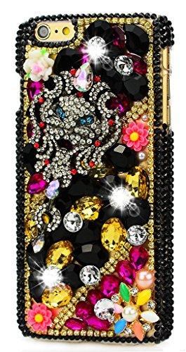 iPod touch (5th Generation) Hülle, Sense TE Strass [3D Handgefertigt] Diamant Serie Bling Schutz Handy Tasche Kristall Transparent Case Cover Hülle mit Retro Anti Staub Stecker - Stammes Maske Blumen / Gold & Schwarz