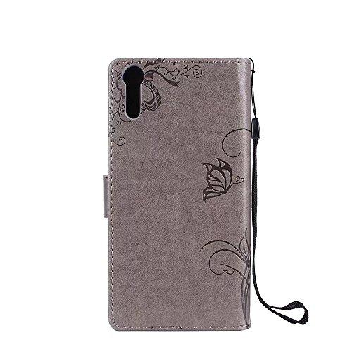 Horizontale Bookstyle Flip Case Premium PU Ledertasche, Solid Color Embossed Blumen Schutzhülle Tasche Tasche mit Lanyard & Stand für Sony Xperia XZ ( Color : Modena ) Gray