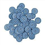 """Leekayer 13/16""""(20mm) Bottoni in Resina di Flatback Blu Bottoni per Cucire, Artigianato Fai-da-Te Bottone per Bambini Dipinto Manuale, Fai da Te Ornamento Fatto a Mano Confezione da 150 Pezzi"""