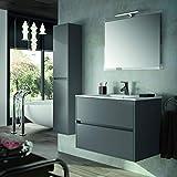 THE LIVING DESIGN FIND YOUR OWN STYLE Conjunto de Mueble de Baño NEJAR - 80cm - Gris Mate. con Lavabo, Espejo y Aplique Led.