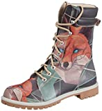 DOGO Red Fox Super Bootz Damen Stiefel Schnürer Fuchs Motiv All-Over-Print Mehrfarbig