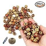 JPSOR 100 Stück 12mm gemalte Faß Design gemischte Farben Perlen DIY losen Holzperlen