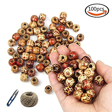 JPSOR 100 Pcs 12mm Wood Round Beads Painted Barrel Design Mix Color Beading DIY Loose Wooden Beads