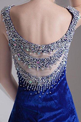 GEORGE BRIDE Sexy Rueckenschnuerung Perlen Samt mit Split-Vorderabendkleid Blau