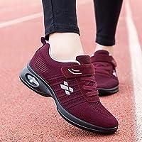 Casual Baile Cuadrado De Mediana Edad Y Ancianos, Zapatos para Caminar, Zapatos Deportivos para Madre, Zapatos De Baile con Fondo Suave De Cojín De Aire,Rojo,39