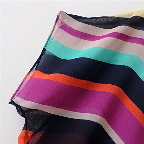 WOCACHI Frauen Sommer Perspektive beiläufige lose Chiffon Tops Blusen T-Shirt Multicolor