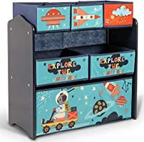 Home Canvas Little Explorer Multi-Bin Toy Organizer with Storage Bins, Blue