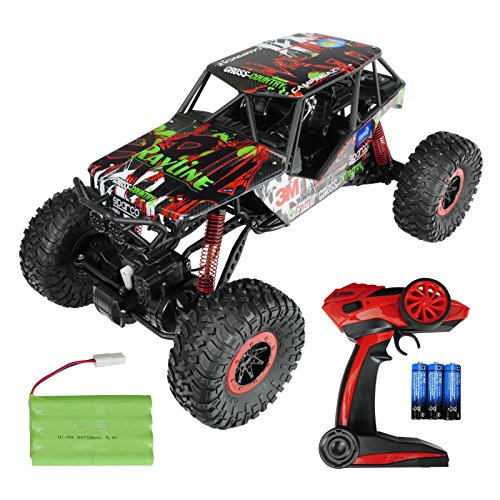 Monster-truck-bundle (FPS RTR Bundle: 2.4G Elektro RC XXL Rock Crawler Monstertruck Buggy, Ferngesteuertes Auto, Pistolenfernbedienung, 4WD Allradantrieb, Offroad, Decal Edition, 1:10 + 1x700 mAh Akku + 6x AA Batterien)