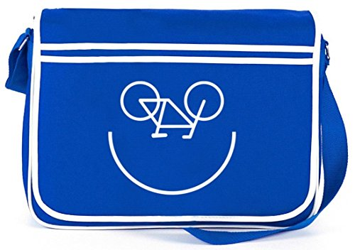 Shirtstreet24, Bike Smiley, Fahrrad Rennrad Retro Messenger Bag Kuriertasche Umhängetasche Royal Blau