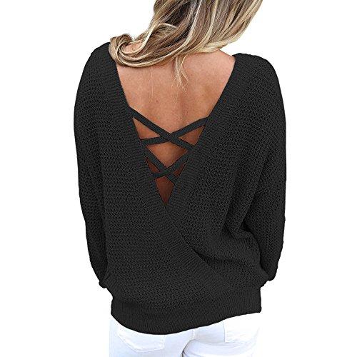 TEBAISE Sommer Damen Locker Tops Oberteil Bluse Party Pullover Frühjahr Rundhals Langarm Bluse Rückenfrei Loose T Shirt(U-Schwarz,L)