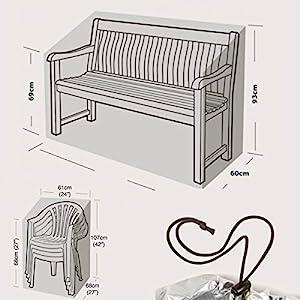 KERABAD Abdeckung für Gartenmöbel – wasserdichte und witterungsbeständige Gartenmöbel Abdeckung – für Gartenbänke und…