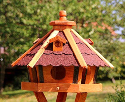 Vogelhaus, Vogelhäuser mit Solarbeleuchtung mit und ohne Ständer behandelt Typ 23 (Rot, ohne Ständer)