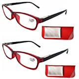 Sams Eyewear 2pack Reaing Glasses Red with Spring Hinge Leather Pouch Clearing Cloth Comfortable No Glare No.