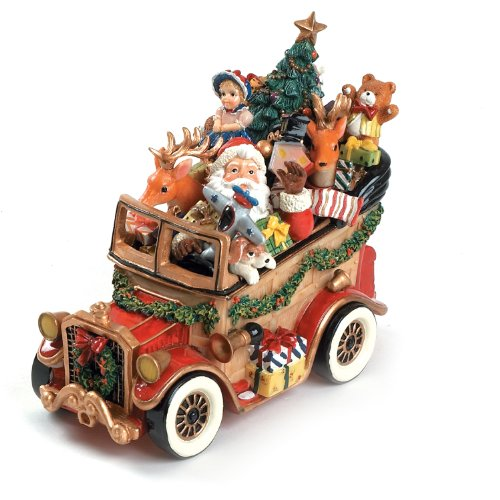 Fitz and Floyd Santa Classic Car We Wish You a Merry Christmas Musical Figur -