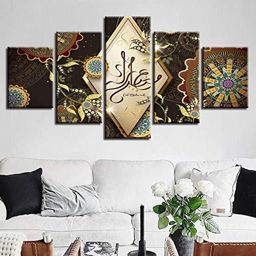 Zum Aufhängen bereit - Wandkunst Rahmen 5 Stücke Islam Allah Der Koran Malerei HD Print Modulare Muslimischen Blumen Bilder Wohnzimmer Dekor Leinwand Poster - Bild auf Leinwand fünfteilig