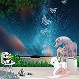 Fototapete Tapete Einhörner Nachthimmel Unicorn Schmetterlinge Sterne Wall-Art