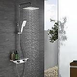 Homelody Thermostat Duschsystem mit Regal Duschset Duscharmatur Regendusche Dusche Shower Duschsäule inkl.Wasserhahn Handbrause kopfbrause und verstellbar Duschstange