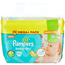 PAMPERS Baby-Dry, tamaño 4 +, 9 – 18 kg, Mega Plus Pack, 92 unidades)