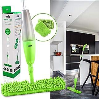 ANSIO Spray Floor Mop mit Mikrofaserpad *** Lifetime-Ersatzgarantie *** (Maschinenwaschbar) und nachfüllbare Flasche Geeignet für Holz-, Vinyl-, Marmor- und Fliesenböden - Grün