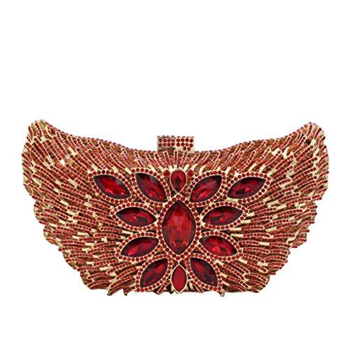 Frauen Hochwertiger Diamant-Abendtasche Clutch Hochzeit Handtasche Red