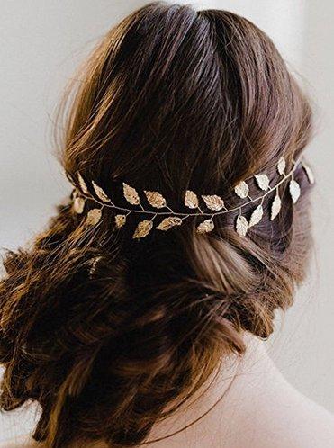 Aukmla Hochzeits-Haarkette, Braut-Haarschmuck in Form von goldenen Weinblättern, Haarkranz für Brautjungfer und Braut