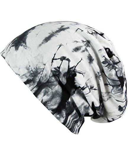 Caripe Long Beanie Slouch Jersey Mütze Damen Herren einfarbig - su99 unifarben (Batik - weiß-schwarz)