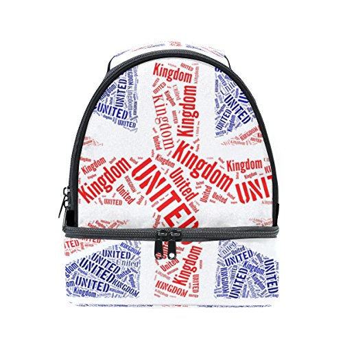 COOSUN British National Flag Lunch Bag Dual-Deck Isolierte Lunch Cooler Tote Bag Verstellbaren Riemen Griff für Männer Teens Jungen Mädchen Groß Multi (British Open Flag)