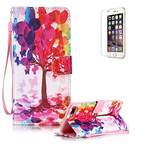 Für iPhone 7 Plus 5.5 zoll Lederhülle Schutzhülle,Für iPhone 7 Plus 5.5 zoll Full Body Schutz Tasche Case,Funyye Stilvoll Mode [Bunt Muster] Flip Wallet Case Slim PU Leder Cover Tasche Handy Case Schu Bunt Baum