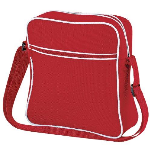 Bagbase - Borsa da viaggio stile retrò - 7 Litri (Taglia unica) (Blu navy/Bianco) Nero/Scuro Color grafite