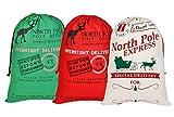 Sacco di Babbo Natale, sacco per i regali di Natale Grande borsa di Natale in cotone con coulisse per i Bambini 70 x 50 cm 3 Pack