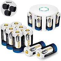 Für Arlo Kamera Akku 12 Stücke, Keenstone RCR123A 3.7V 700mAh Li-ion Batterien Wiederaufladbare, Arlo Kamera Silikon Hülle und Batterie Gehäuse Enthalten für Arlo Kamera VMC3030/3230/3330/3430