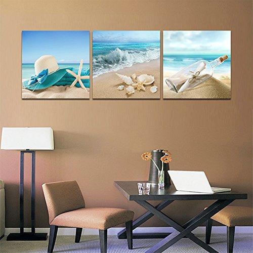 CyioArt - 3 Panels Landschaft Malerei Wandkunst - Strand Muscheln Seestern - Leinwand Kunst Home Decor - 40x40cm (Malerei Muscheln)
