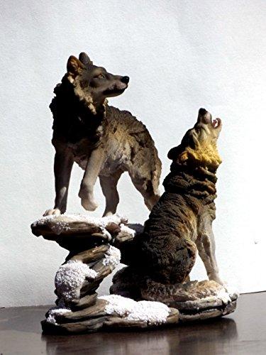 2 Wölfe Wolf auf Felsen Tierfigur Hund Skulptur Deko Tier Figur Statue Wildhund (Wolf Büste)