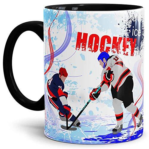 Tassendruck Eishockey-Tasse Wintersport - Farbtasse Innen und Henkel Schwarz/Kaffeetasse / Mug/Cup -...