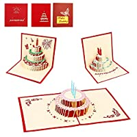 AlleTechPlus 3 Pack Birthday Cake Cards 3D Pop Up Happy Birthday Greeting Card with 3 Envelopes (Red Cover)