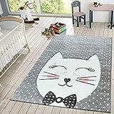 TT Home Kinder Teppich Modern Süße Katze Mit Schleife Punkte Design Spielteppich Grau Weiß, Größe:120x170 cm