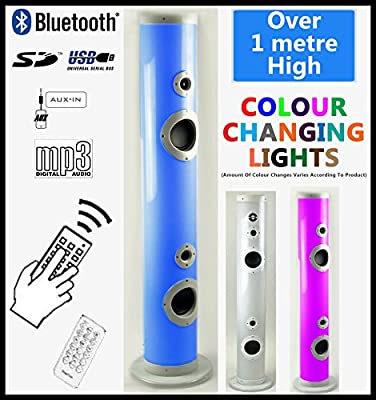 Powerful 85 watt, LED Lit 2.1 Tower Speaker, Colour Changing Chasing Lights, Bluetooth, Great Sound Reproduction, MP3 Play-back (USB/SD Card), FM Radio, Remote Control, 3.5mm Jk AUX IN, 1 metre tall from Steepletone