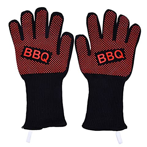 "BBQ Gloves Grilling Cooking Glove Oven Gloves, Heat Resistant BBQ Mittens Hot Oven Cooking Gloves Best Insulated Heat Pot Mitts Holder for Barbecue, Cooking, Grilling and Food Handling Protective Gloves Withstand Heat Up To 932℉ – Use As Oven Mitts, Pot Holders, Heat Resistant Gloves for Grilling – Features 5"" Cuff for Forearm Protection by TradePro"