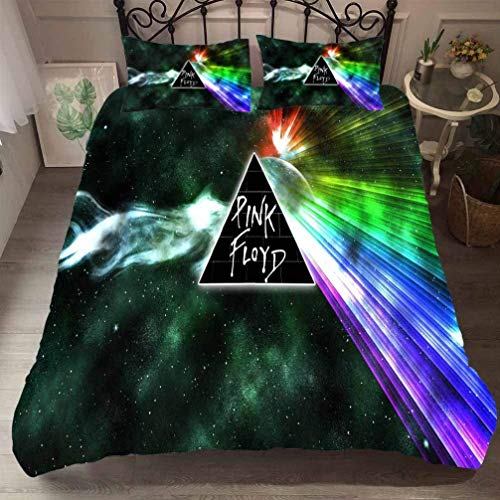 Sallypan 3D Pink Floyd Bettwäsche, Mikrofaser Tröster Bunte geometrische Bettbezug Sets 3tlg (Bettbezug + Kissen-),2,SuperKing220*260cm -